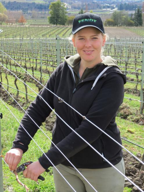 Annabel Bulk, of Felton Road Wines, Bannockburn, is keen to compete in the Young Viticulturist of the Year title again next year. Photo: Yvonne O'Hara