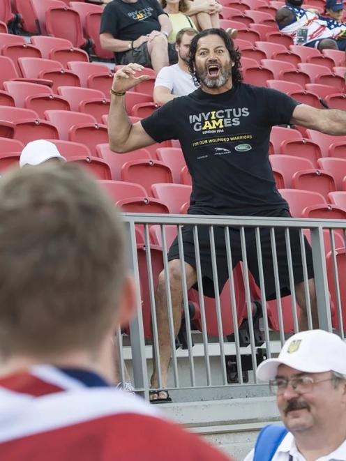 Willie Apiata celebrates New Zealand's first medal at the Invictus Games in Toronto Canada with a Haka. Photo: NZ Defence Force