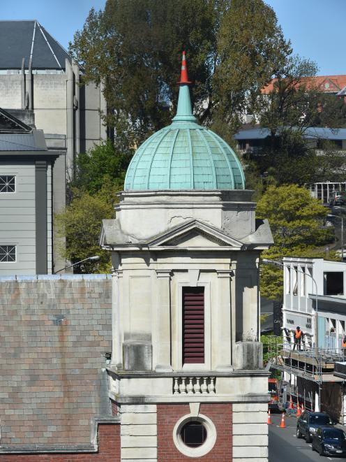 A cone atop the church spire. Photo: Gregor Richardson