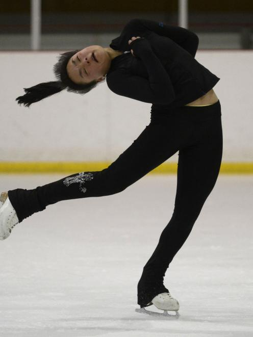 Dunedin ice skater Asia Tapealava (14) practises a spin yesterday as she prepares to compete in the junior category of the national ice skating championships at the Dunedin Ice Stadium. Photo: Gerard O'Brien