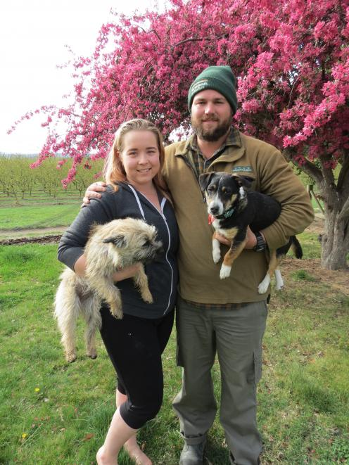 Luke Bottriell, pictured with wife Jordan and their two dogs Tazzy and Balto, was named Central Otago Apprentice of the Year in the eighth annual Central Otago Awards in Roxburgh earlier this month. Photo: Yvonne O'Hara