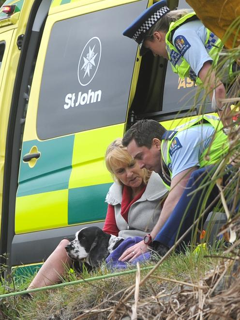 An officer tends to a dog injured in the crash. Photo: Christine O'Connor
