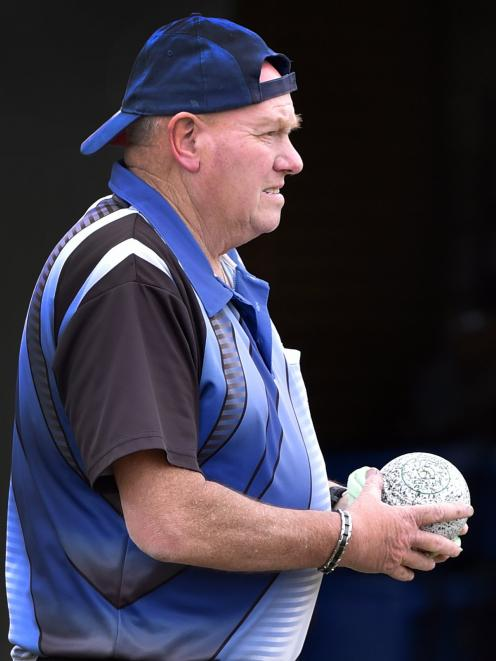 Joe Gordon prepares to deliver a bowl in the Bowls Dunedin open pairs final at Fairfield Bowling...