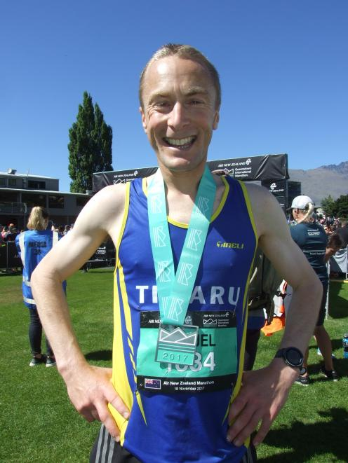 Timaru's Sam Wreford overcame sickness to win the Queenstown International Marathon in a record time today. PHOTO: GUY WILLIAMS