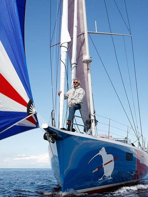 Stanley Paris stands on the bow of Kiwi Spirit II. Mr Paris' attempt to become the oldest and...