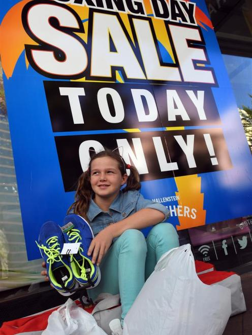 Boxing Day has become a family tradition for early starter Gemma Burleigh, of Milton, who was checking out bargains in Dunedin yesterday. Photo: Stephen Jaquiery