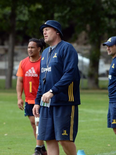 New Highlanders assistant coach Glenn Delaney at training at Logan Park this week. Photo: Linda Robertson