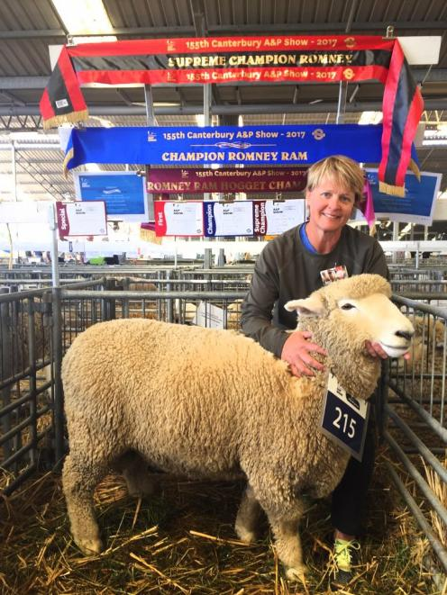 Janine Smith with her prize-winning Romney ram hogget at the Canterbury A and P Show. Photo:...