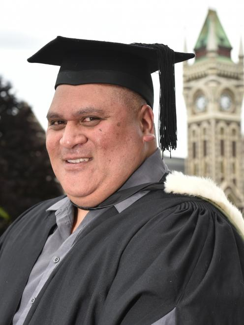 Samoan student Michael Salamasina reflects on being able to finally graduate from the University of Otago today. Photo: Gregor Richardson
