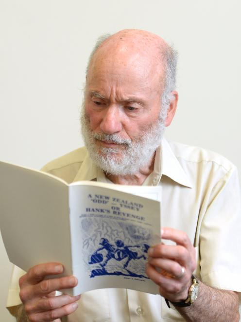 Associate Prof Peter Schwartz with his book, A NZ Odd-yssey or Hank's Revenge. Photo: Linda Robertson