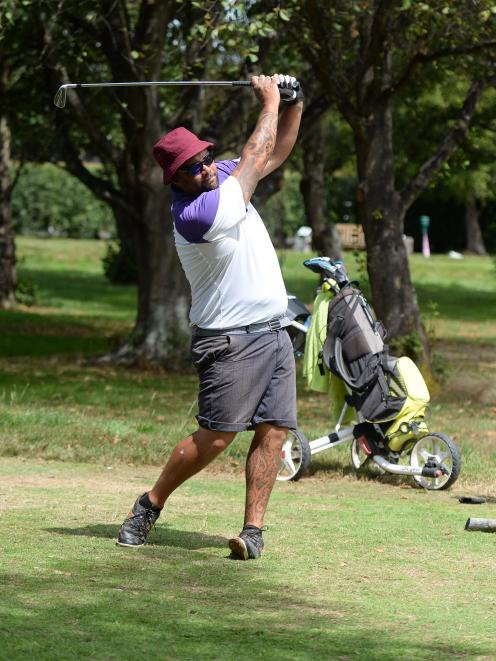 Otago strokeplay championship winner Matt Tautari tees off on the 15th hole during the third and...
