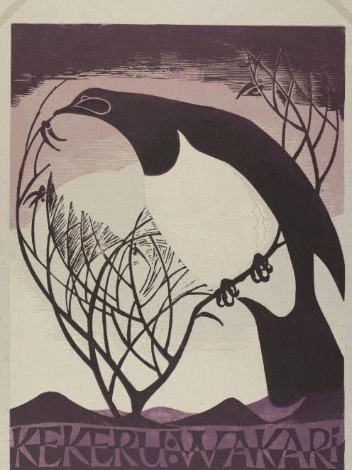 Dame Eileen Mayo (1906-1994) Pigeon in Winter, 1974, relief print on paper. HOCKEN COLLECTIONS,...