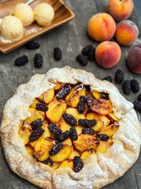 Dot's roast peach and blackberry tart.
