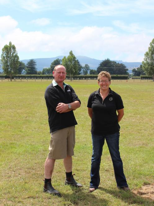 Otago Taieri A&P show president Wayne Smaill, with show secretary Cate Edgler, at the showgrounds in Mosgiel, all ready for the big day. Photo: Ella Stokes