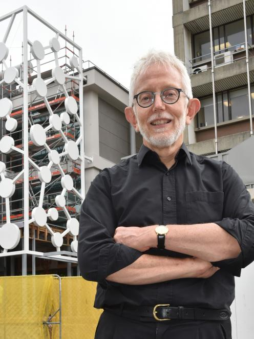 University of Otago chemistry department immediate past head Prof Lyall Hanton with the new molecular art installation. Photo: Gregor Richardson