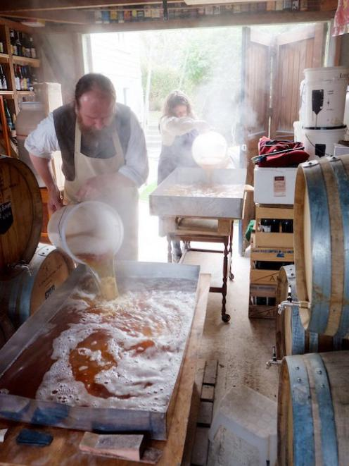 Michael O'Brien and Lee-Ann Scotti make beer at Craftwork Brewery