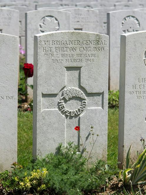 Brig Fulton's headstone at the Doullens Communal Cemetery in northern France.