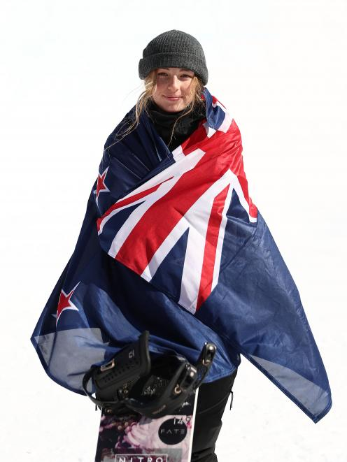 Zoi Sadowski-Synnott shortly after winning the bronze medal in the women's big air snowboard...