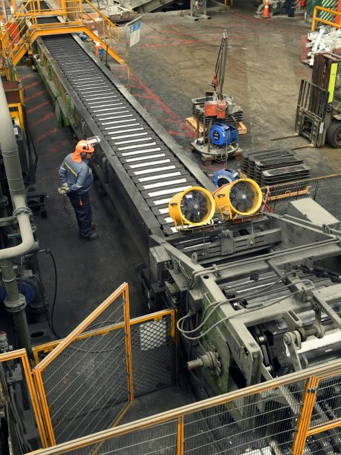 The ingot casting machine at Tiwai Point aluminium smelter.