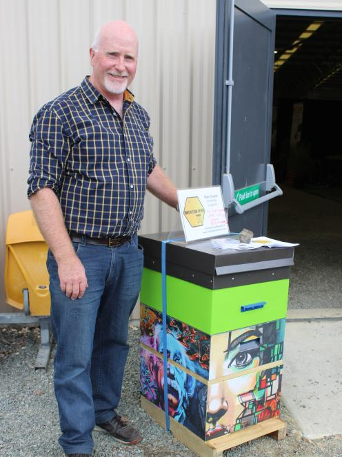 Innovation Hives owner Peter Dodds with one of his hives which was awarded second place in the Southern Rural Life Innovation Awards at the Southern Field Days recently. Photo: Nicole Sharp