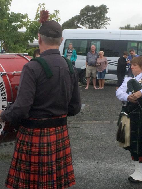 The Westport RSA pipe band playing Auld Lang Syne on New Year's Eve. Photo: Liz Breslin