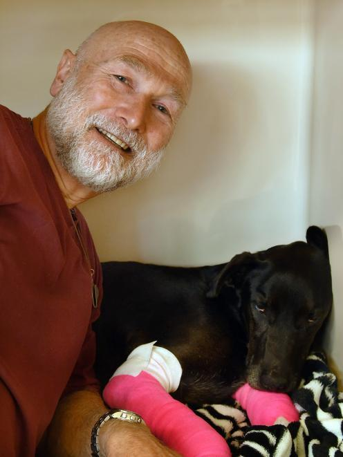 Andy Cunningham and his dog Meg, who was found alive on Monday after being missing for five weeks...