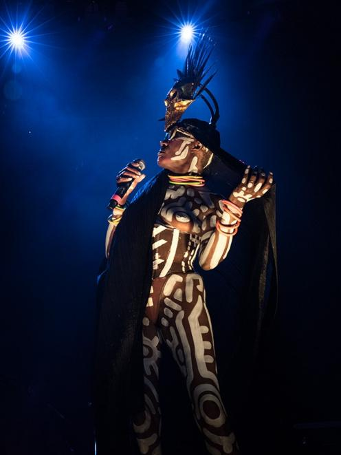 Iconic singer-songwriter Grace Jones performing at her first ever NZ show at the Queenstown...