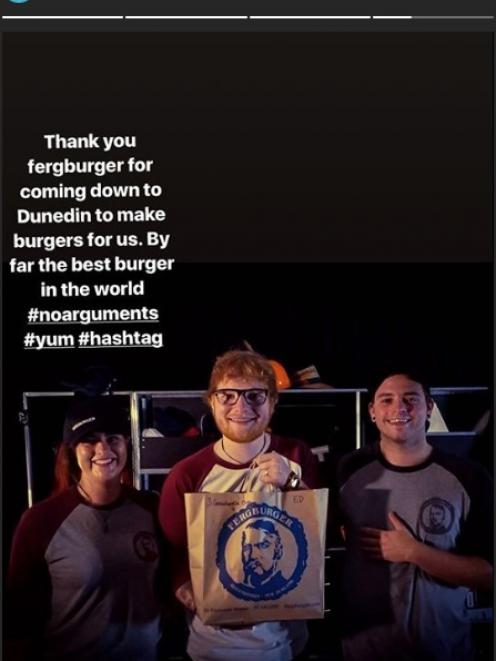 """Fergburger staff members deliver the """"#yum"""", """"best burger in the world"""" to music star Ed Sheeran today. Photo: Instagram"""