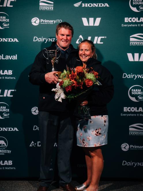 Share farmers of the year Simon and Hilary Vallely at the Southland-Otago Dairy Industry Awards. Photo: NZ Dairy Industry Awards