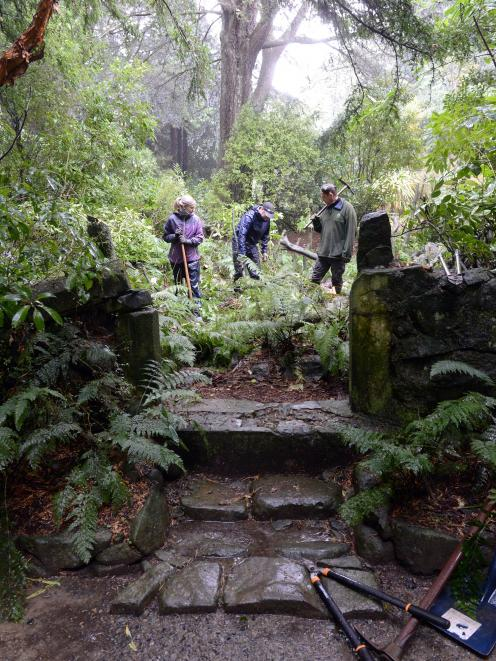 Uncovering the Larnach Castle fernery are (from left) Heritage NZ intern Janny Sjaaholl, Heritage...