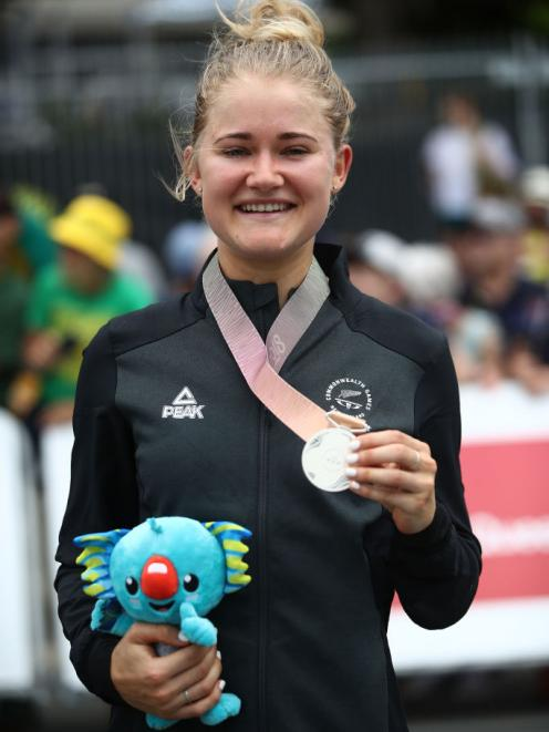 Georgia Williams shows off her silver medal. Photo: Getty