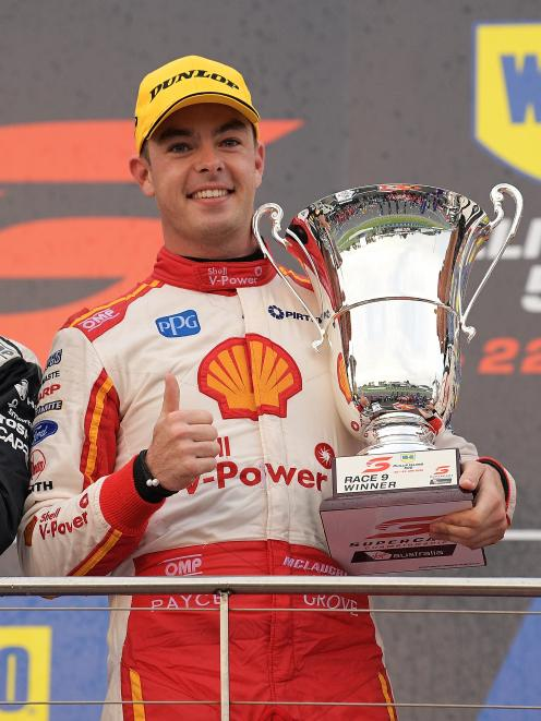Race winner Scott McLaughlin celebrates after the Supercars Phillip Island 500. Photo: Getty Images