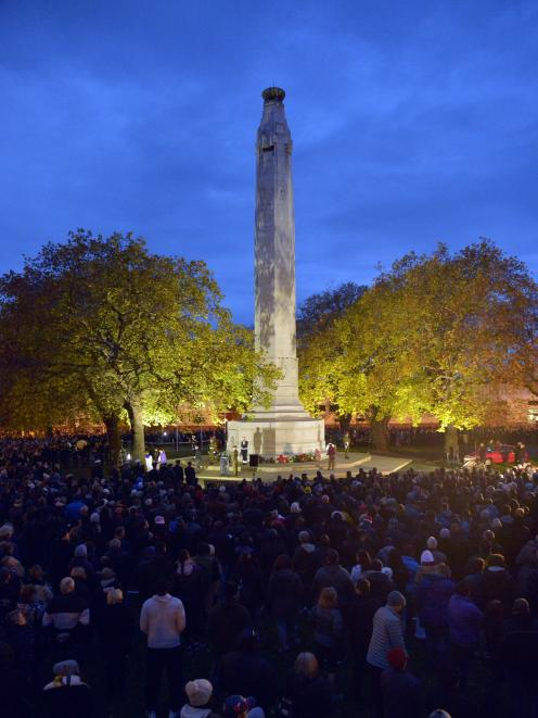 The Cenotaph at Queens Gardens this morning. Photo: Gerard O'Brien