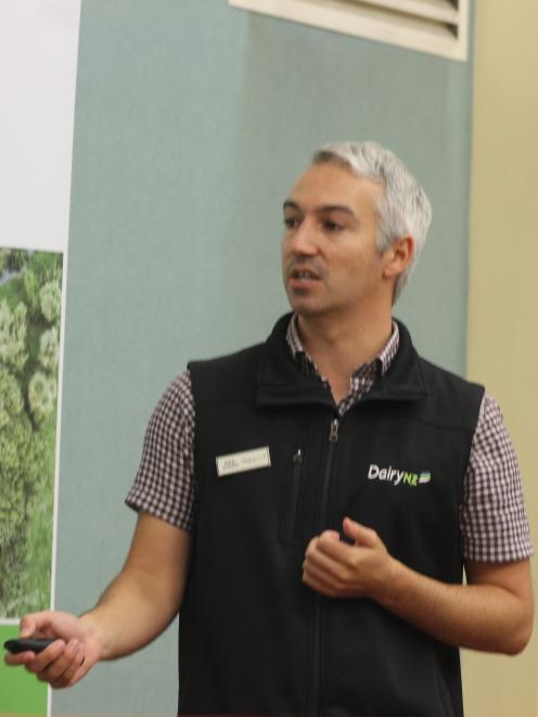 DairyNZ scientist Paul Edwards talks about the ins and outs of once-a-day milking at DairyNZ's once-a-day seminar in Gore recently. Photo: Nicole Sharp
