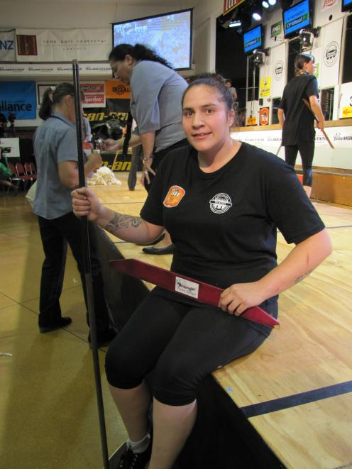 Top open woolhandler Pagan Karauria, of Alexandra, takes a moment to relax while competing at the New Zealand championships in Te Kuiti last week. Photo: Supplied