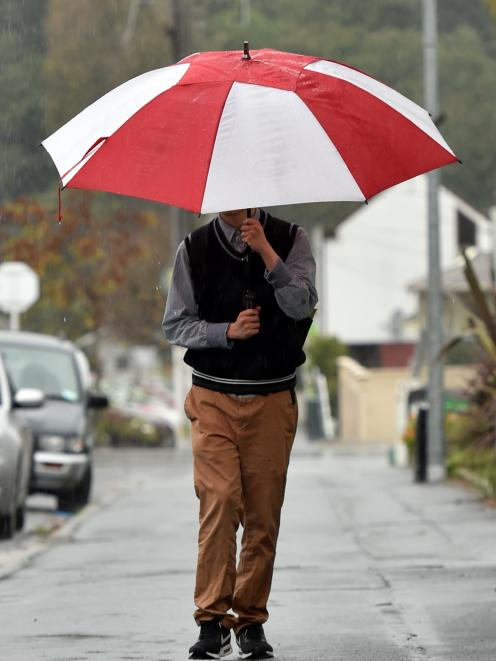 Dunedin student Jacob Lin (19) was prepared for the cold front which hit Dunedin yesterday...