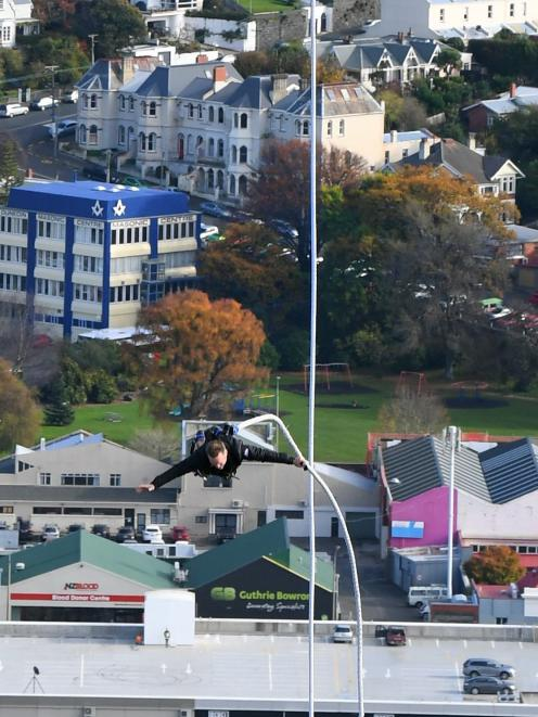 Henry Van Asch makes a spectacular entrance to the Trenz conference in Dunedin. Photo: Stephen Jaquiery