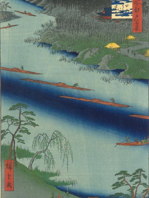 The Kawaguchi Ferry and Zenko-ji Temple, by Hiroshige