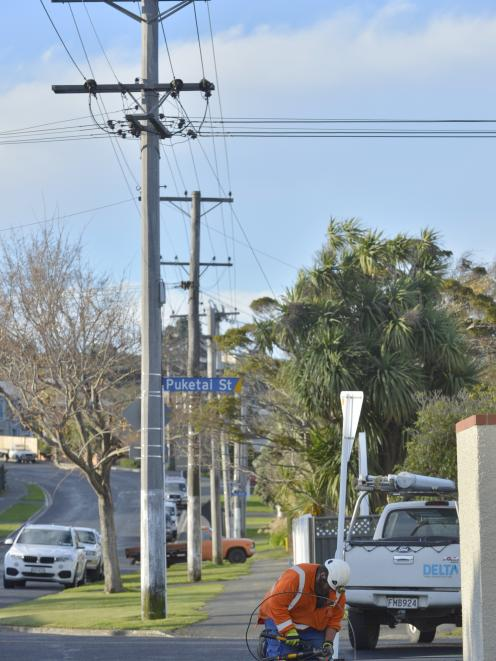 A Delta linesman repairs a low voltage power line felled by high winds in Puketai St in the...