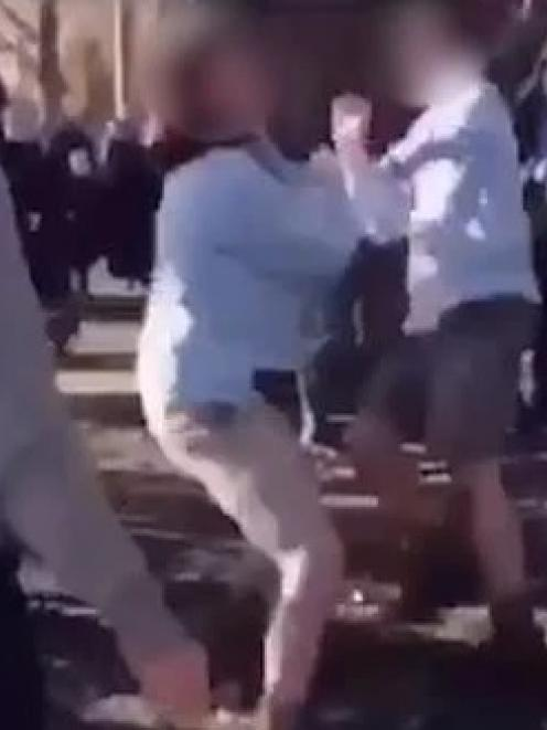 A still from the video showing a fight between Ashburton College pupils on school grounds. Image:...
