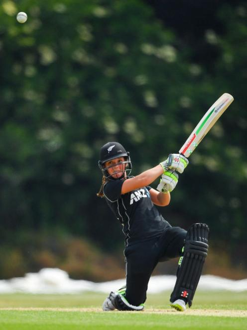 Amelia Kerr plays a ball over the offside during the White Ferns' tour of Ireland. Photo: Getty...