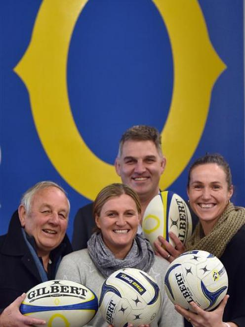 All ready to walk down memory lane are (from left): former Otago team manager Des Smith, former...