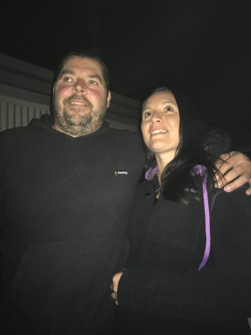 Dave Tetzlaff and partner Stacey McIntyre, on the deck of their Lake Hawea home, from which they had a good view of a meteor on Monday night. Photo: Mark Price