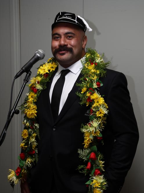 Karl Tu'inukuafe speaks at a capping ceremony following the test between the All Blacks and...