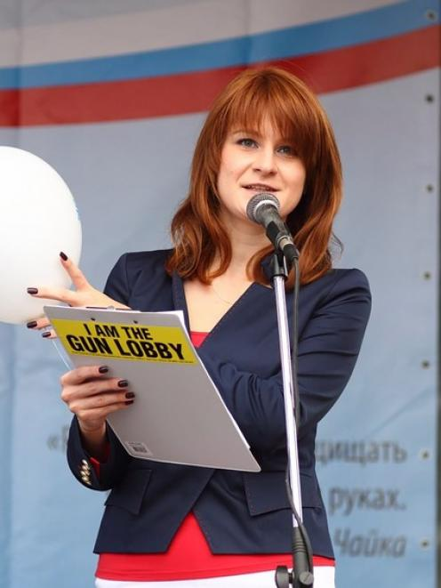 Maria Butina delivers a speech during a rally to demand the expanding of rights of Russian citizens. Photo: Press Service of Civic Chamber of the Russian Federation via Reuters