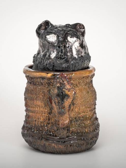 Nichola Shanley, Black Animal Head on Brown Body