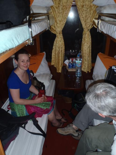 Amber on the night train to Sapa.