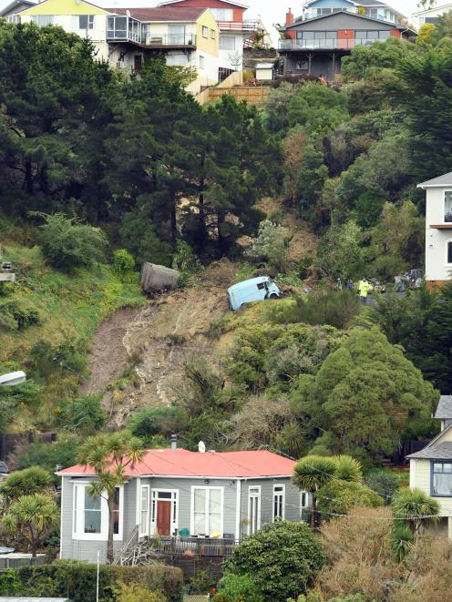 The slip cuts a swathe down the bank above Ravenswood Rd in St Clair. Photo: Stephen Jaquiery