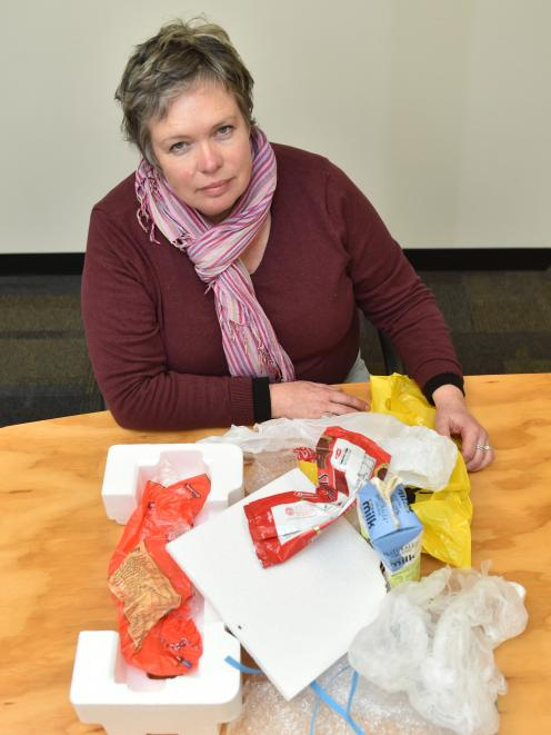 Dunedin City Council waste minimisation education and promotions officer Catherine Gledhill says non-recyclable items such as plastic bags, and polystyrene keep appearing in recycle bins. Photo: Gregor Richardson