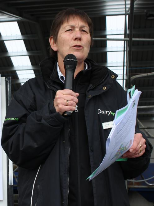 DairyNZ senior scientist Dawn Dalley talks about the research under way at the Southern Dairy Hub at a field day last year. Photo: SRL files